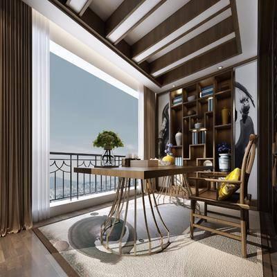 书房, 单人椅, 装饰柜, 摆件, 装饰品, 陈设品, 中式