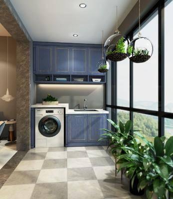 阳台露台, 盆栽, 绿植植物, 洗衣机, 橱柜, 洗手台, 现代简约