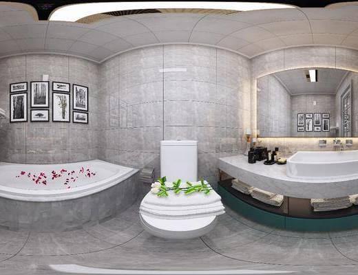 卫生间, 卫浴柜, 洗手台, 浴缸马桶, 浴缸组合, 现代