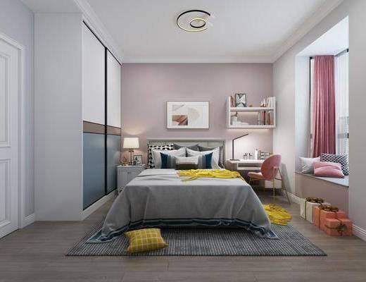单人床, 桌椅组合, 衣柜, 玩具, 窗帘