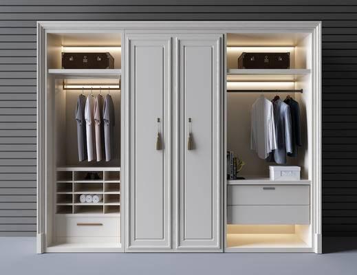 简欧, 衣柜, 储物柜, 衣服