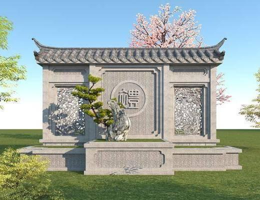 园林景观小品, 文化雕塑墙, 景观墙