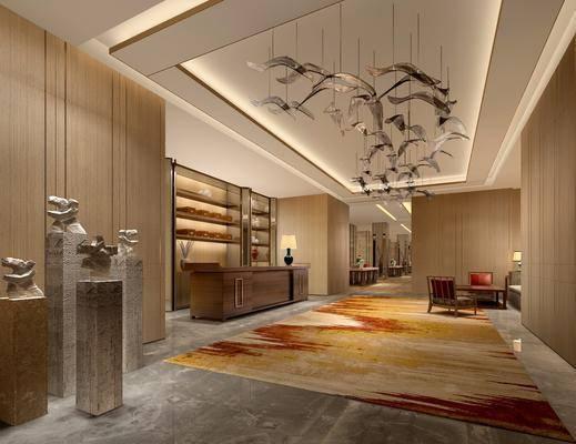 大堂, 大厅, 新中式, 吊灯, 石雕, 地毯, 走廊, 过道