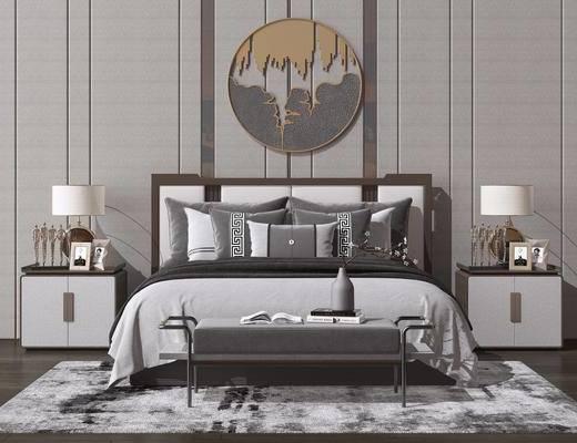 床头柜, 床具组合, 双人床, 墙饰