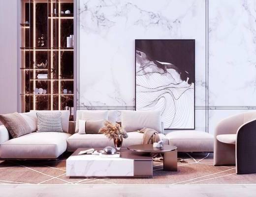 沙发组合, 现代沙发组合, 茶几, 花瓶花卉, 摆件组合