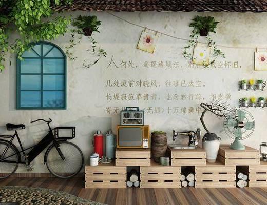 装饰柜, 自行车, 摆件, 装饰品, 陈设品, 花瓶, 干树枝, 盆栽, 复古怀旧, 饰品组合, 中式