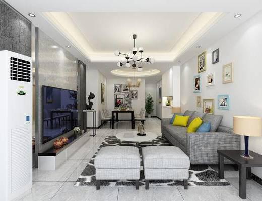 现代简约, 现代客厅, 现代沙发, 沙发组合, 沙发茶几组合, 客厅