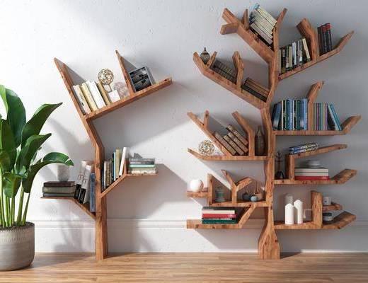 北欧书架, 书架, 树形书架, 装饰柜架