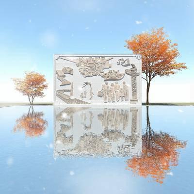 林景观小品, 石材雕塑墙