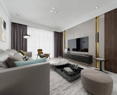 客厅, 现代客厅, 沙发组合, 茶几, 桌椅组合, 单椅, 摆件组合, 现代