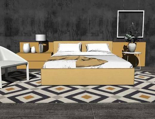 双人床, 单椅, 地毯, 床头柜, 床具组合