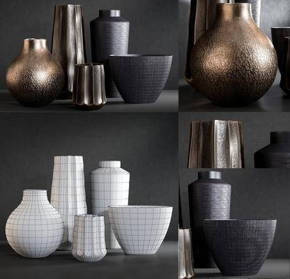 陶瓷, 花瓶, 摆件, 摆件组合