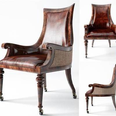 单椅, 皮革椅, 欧式