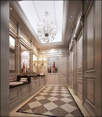 卫生间, 洗手台, 吊灯, 壁灯, 现代