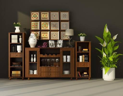 边柜, 置物柜, 装饰柜, 陈设品, 摆件, 装饰画