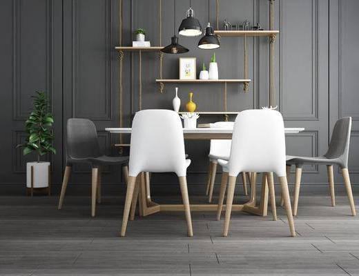 桌椅组合, 餐桌, 餐椅, 单人椅, 盆栽, 绿植植物, 吊灯, 北欧