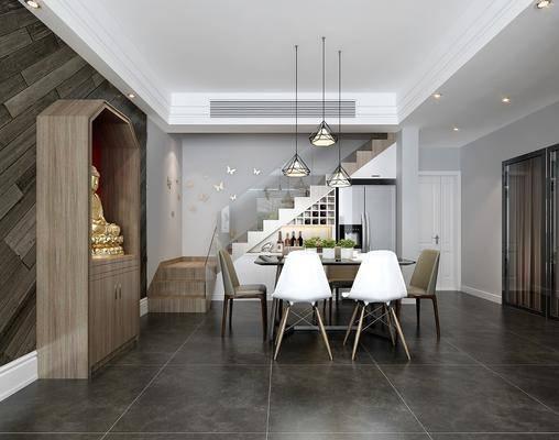餐厅, 餐桌, 单椅, 椅子, 吊灯, 佛像, 楼梯, 冰箱, 厨具, 餐具, 酒柜, 现代, 北欧