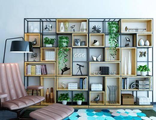装饰柜架, 柜架组合, 置物柜, 单椅, 落地灯
