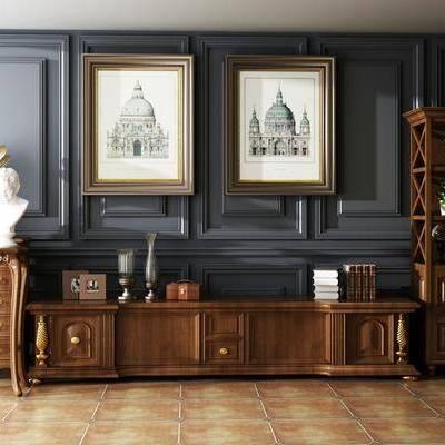 电视柜, 边柜, 置物柜, 矮柜, 摆件, 装饰画, 挂画, 植物, 盆栽, 案几, 雕塑, 石膏, 装饰品, 留声机, 美式