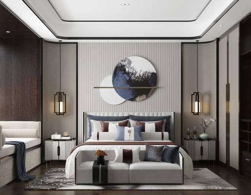 双人床, 吊灯, 墙饰, 床尾踏, 床头柜, 沙发椅