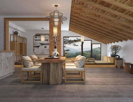 茶馆, 新中式茶室3d模型, 植物盆栽, 摆件组合, 吊灯