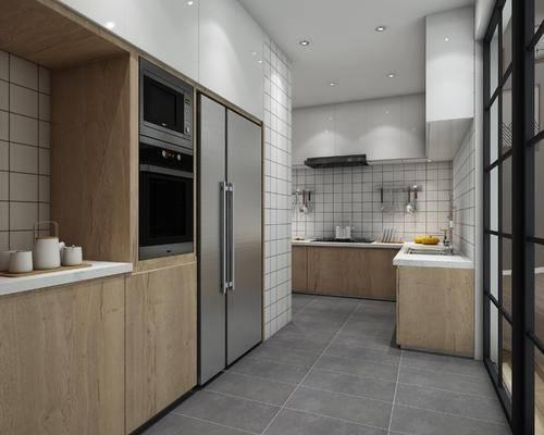 现代厨房, 北欧厨房, 橱柜, 吊柜, 推拉门, 冰箱