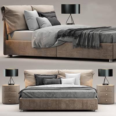 卧室, 双人床, 床头柜, 台灯, 北欧