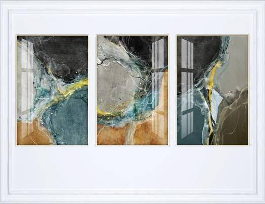 抽象掛畫, 掛畫組合, 裝飾畫, 組合畫, 現代