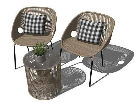 户外椅, 单椅, 茶几, 植物