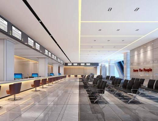 营业大厅, 银行, 办公大厅, 现代