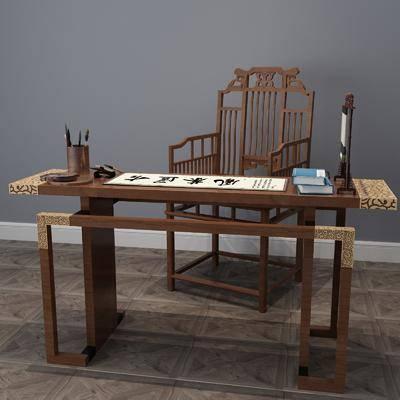 书桌椅组合, 中式