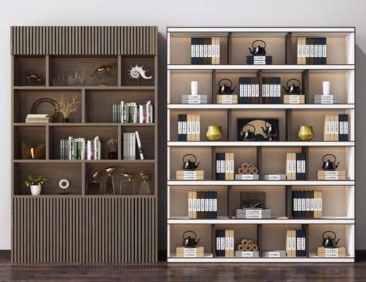 书架, 展示柜, 书籍, 装饰品, 摆件组合