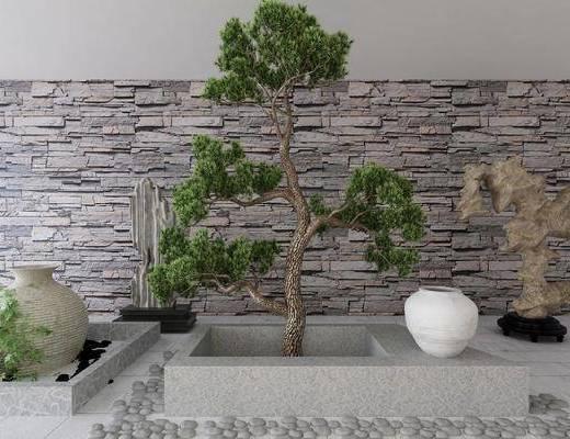 景观小品, 树木, 装饰品, 陈设品, 新中式