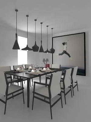 餐桌, 餐椅, 吊灯, 装饰画, 挂画, 摆件, 装饰品, 陈设品, 现代