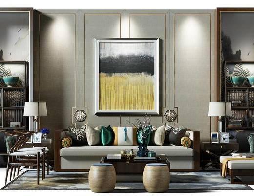沙发背景墙, 边柜, 装饰柜, 椅子, 沙发凳, 凳子, 新中式客厅, 中式沙发