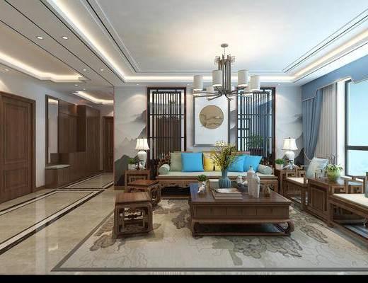 中式客厅, 中式餐厅, 客厅, 餐厅, 沙发组合, 中式沙发