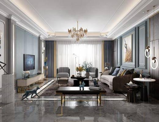 现代客厅, 轻奢客厅, 简欧客厅, 客厅