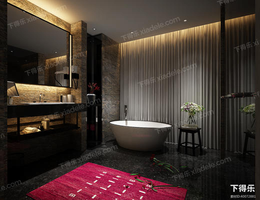 现代卫生间, 卫生间, 洗手台, 浴缸, 卫浴