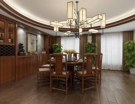 中式餐厅, 中式卧室, 中式吊灯, 餐桌椅, 桌椅, 椅子