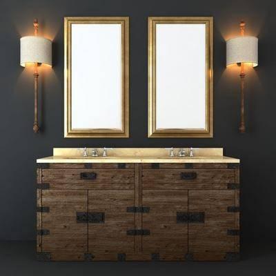 洗手台, 洗手盆, 镜子, 壁灯, 工业风