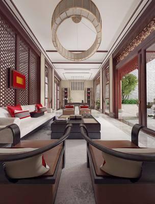 中式会客厅, 会客厅, 沙发组合