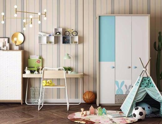 北欧, 书桌, 椅子, 边柜, 衣柜, 玩具, 装饰架