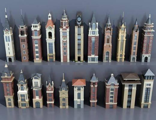 欧式钟楼, 塔楼, 钟楼, 古建