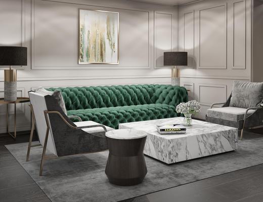 欧式简约, 沙发组合, 落地灯, 沙发椅
