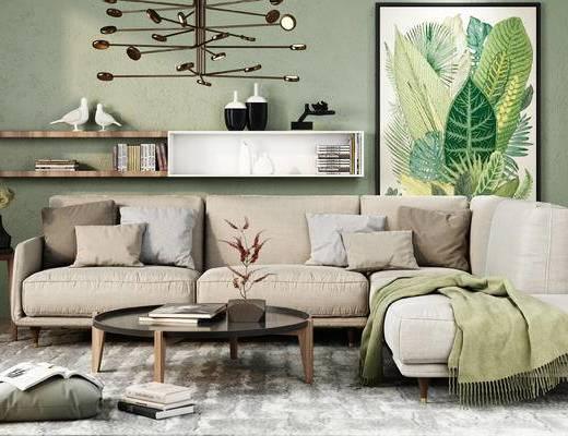 沙发, 茶几, 装饰画, 吊灯, 置物架, 北欧沙发, 金属吊灯