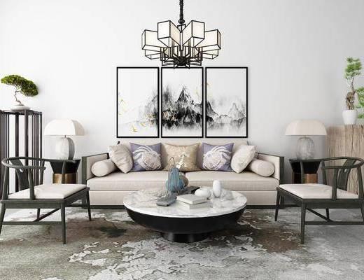 新中式沙发组合, 沙发组合, 新中式沙发, 多人沙发, 沙发茶几组合