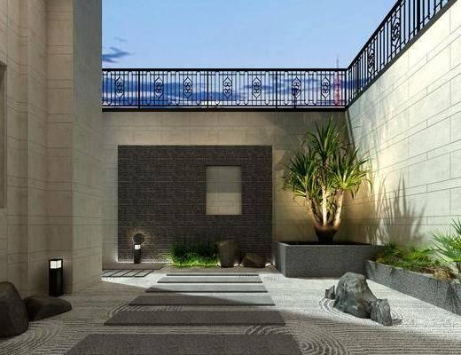 庭院, 盆栽, 新中式