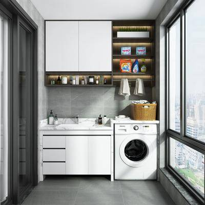 阳台露台, 洗衣机, 装饰柜, 洗手台组合, 现代