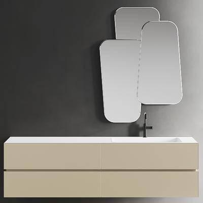 现代洗手台盆柜镜子卫浴组合