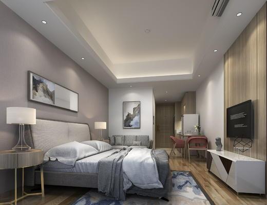 卧室, 公寓, 现代卧室, 床, 床头柜, 台灯